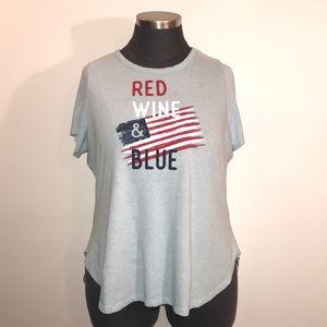 """Lane Bryant 18/20 """"Red Wine & Blue"""" Patriotic Tee"""